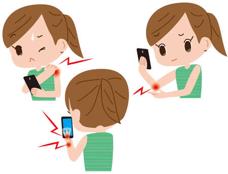 Harmful effects on smartphones. Women who feel pain such as stiff shoulders and tendonitis Illustration