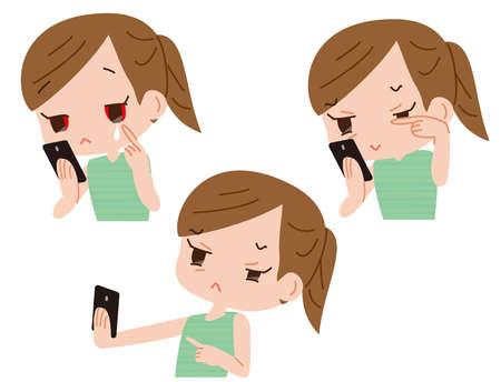 Harmful effects on smartphones. Eye strain Illustration