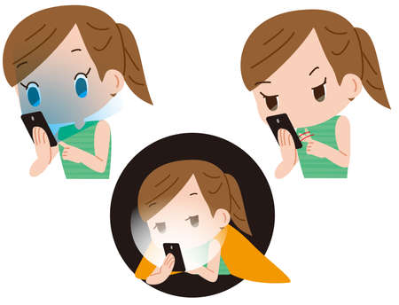 A woman who overuses her smartphone and causes dizziness and tinnitus Illustration