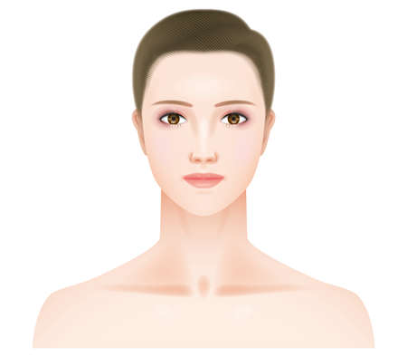 Face seen from the front of a woman with makeup. Illustration