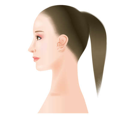 Profile of a woman with makeup.