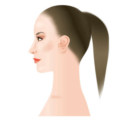 Profile of a woman with heavy makeup.