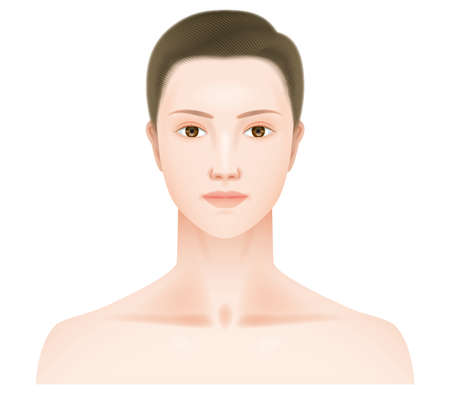 A face seen from the front of a real woman.no makeup