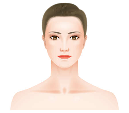 Face seen from the front of a woman with heavy makeup.