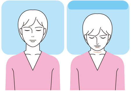 Pillow height and strain on neck and chin 矢量图像