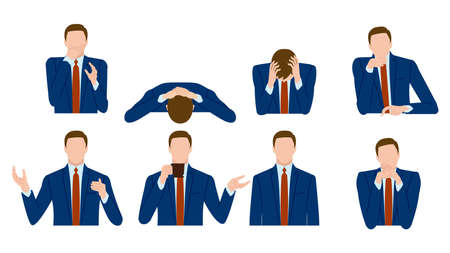 The gesture of a businessman. Vector material 向量圖像