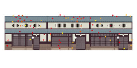 Old Japanese townhouses and autumn and autumn leaves 向量圖像