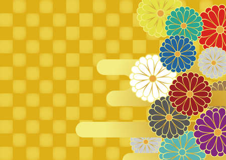 Japanese style chrysanthemum, haze and checkered pattern. Background material. Vector illustration