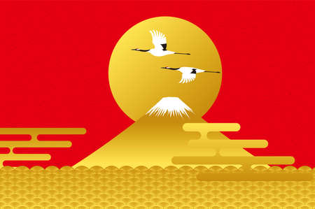 Mt. Fuji, Japanese crane, sunrise and Qinghai wave. Illustration vector material