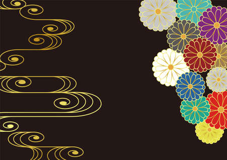 Japanese style chrysanthemum and running water pattern. Vector background material. 向量圖像