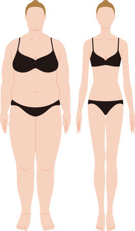Obese and slim women. Vector material