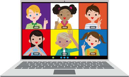 Remote conversation on children's laptops. Vector material