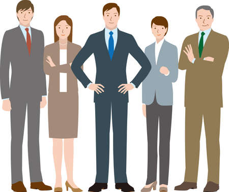 Motivated team of businessmen and businesswomen Vector