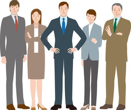 Motivated team of businessmen and businesswomen Vector material