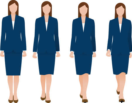 A walking business woman in a suit seen from the front. Vector material