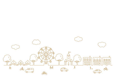 Vector background material for cityscape with Ferris wheel and passers-by and running cars 向量圖像