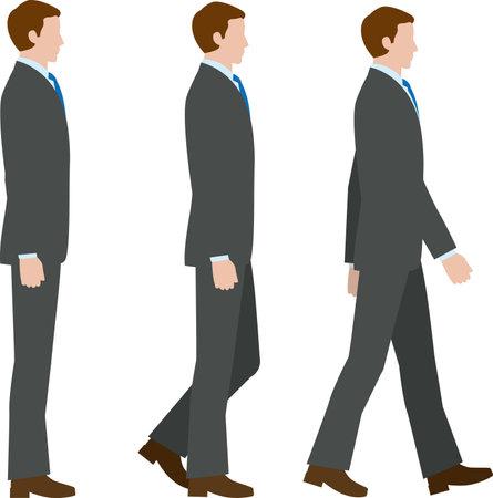 Walking sideways businessman. Vector materia