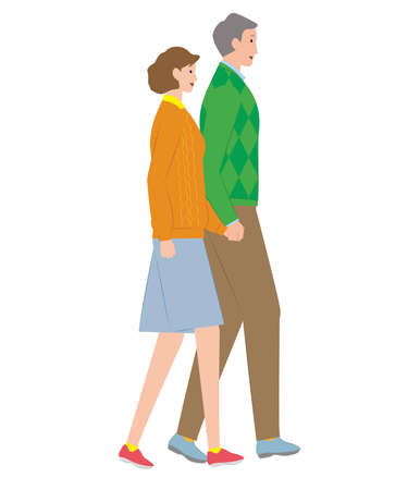 Senior couple walking hand in hand. Vector material 向量圖像