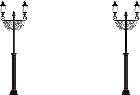 Monochrome illustration of a retro streetlight 向量圖像