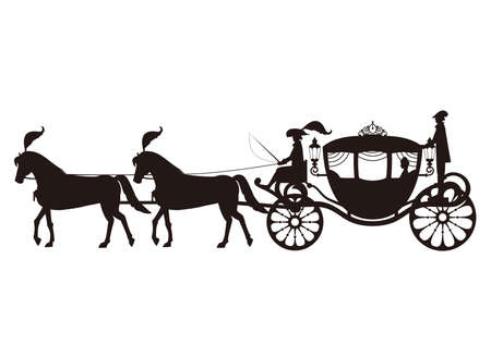 Monochrome illustration of a Western-style carriage
