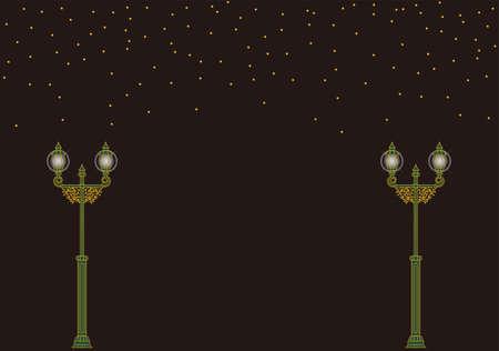 Illustration of night sky, stars and retro street lights 向量圖像
