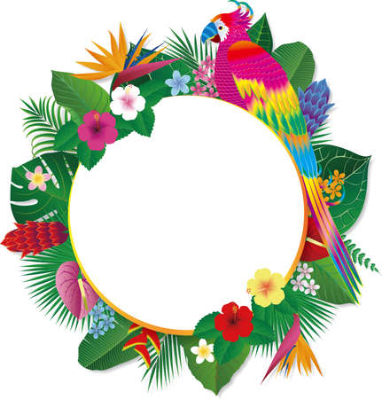 Fancy bird frame with tropical flowers and leaves and parrots. Vector illustration