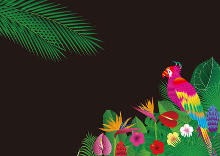 Fancy bird background with tropical flowers and leaves and parrots. Vector illustration 向量圖像