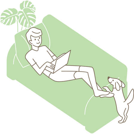 A man lying on the sofa and using a laptop. Vector illustration 向量圖像