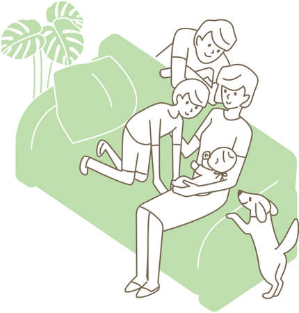 A family surrounding a baby on the sofa. Vector illustration