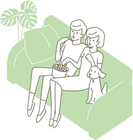 A couple sitting on the couch and watching TV. Vector illustration 向量圖像