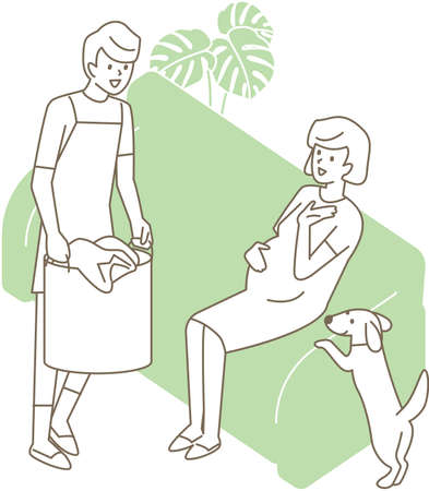 A husband with a laundry basket and a pregnant wife. Vector illustration