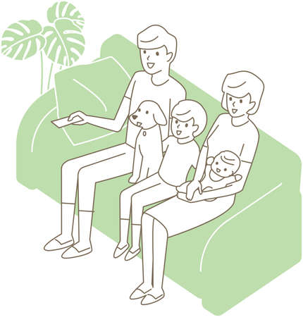 A family of four and a pet dog sitting on the couch and watching TV 向量圖像