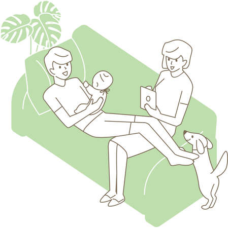 Dad to comfort the baby and mom to use the tablet