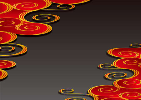 Japanese traditional red and black running water pattern. Vector background material 向量圖像