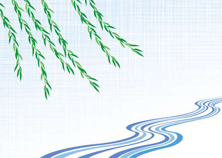 Japanese traditional swaying weeping willow and water flow pattern. Vector background material