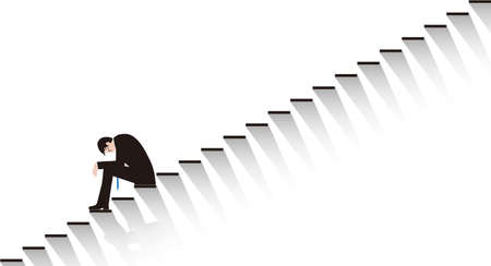 A desperate businessman sitting on the stairs. Vector material