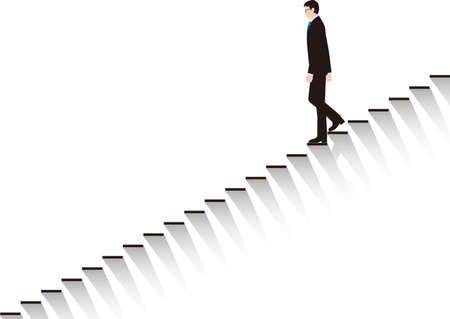 A businessman who slowly descends the stairs. Vector material