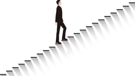 A businessman who goes up the stairs step by step. Vector material