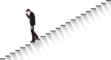 A businessman who despairs and goes down the stairs. Vector 向量圖像