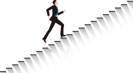 A businessman going up the stairs. Vector material