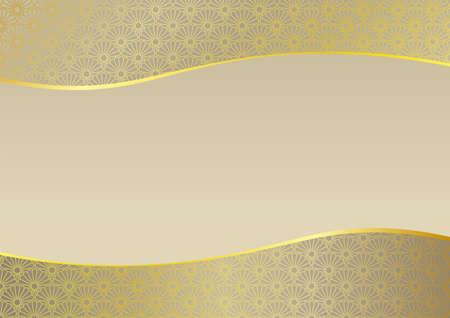 Dot chrysanthemum blue sea wave frame. Background material of Japanese style image. 向量圖像