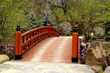 A bridge at a Japanese garden in Rockford Illinois photo