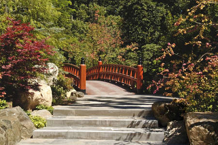 A pictur eof a bridge in a japanese garden in Wisconsin Stock Photo - 2601445