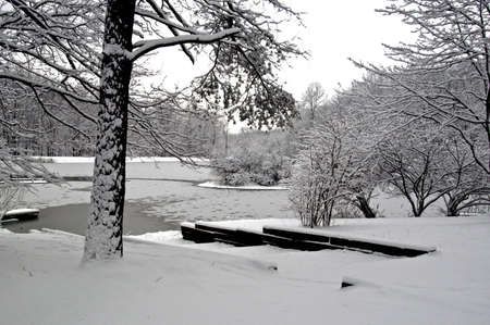 A picture of a snow covered lake taken after a storm in Indiana                          Stock Photo