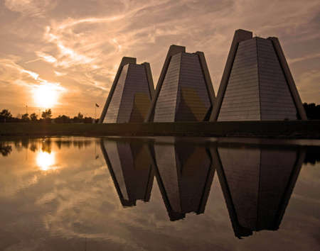 A picture of office buildings in Indianapolis called the pyramids at sunset Stock Photo