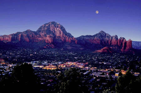 sedona: A picture of Sedona Arizona at night Stock Photo