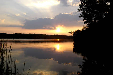 A picture of a marsh pond at sunset with the reflections on the water