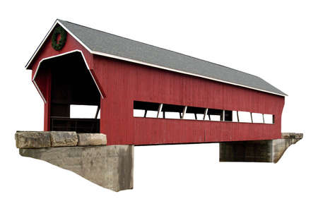 A isolated picture of a covered bridge