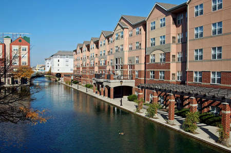 A picture of a downtown canal in Indianapolis Stock Photo