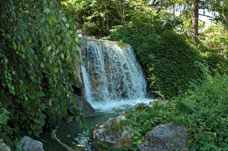 A picture of a waterfall at a park